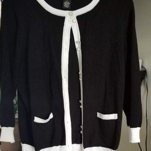Women's Large Black & White Cardigan NWOT